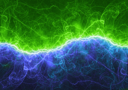 Blue and green electrical lightning, plasma power background
