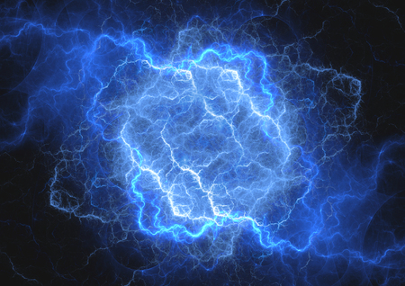 Blue plasma lightning cloud
