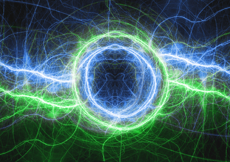 Green and blue lightning, electrical plasma background