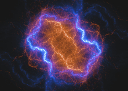Fire and ice lightning background, plasma  and energy background