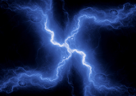 Blue lightning plasma, abstract electrical background Stok Fotoğraf