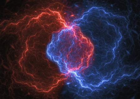 Fire and ice plasma , energy and electrical lightning background