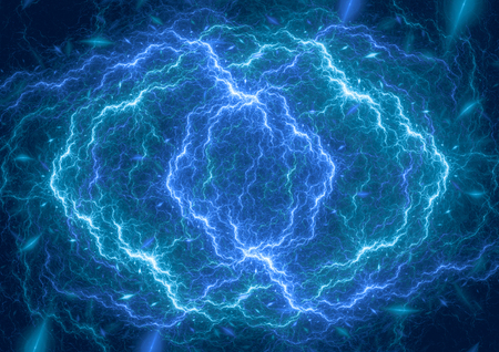 Blue plasma lightning cloud, electrical abstract background