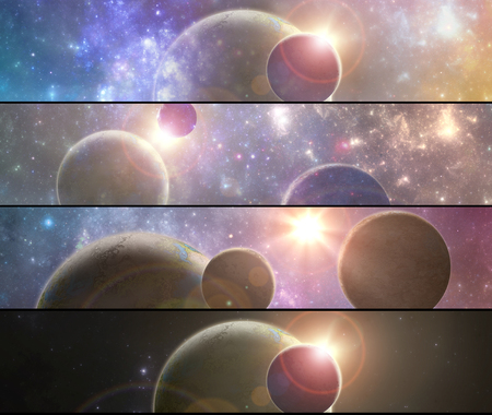Set of four banners with 3D illustrated fantasy space alien planets Stok Fotoğraf