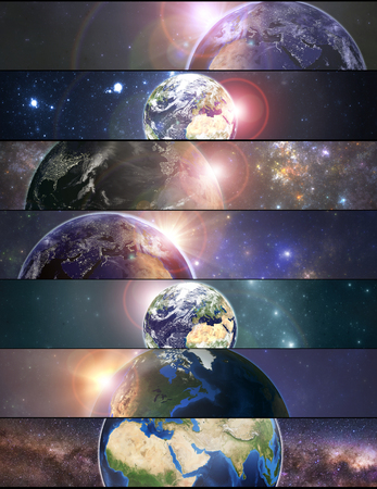Set of banners with planet Earth. Elements of this image furnished by NASA Stok Fotoğraf