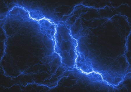 Blue lightning bolt, abstract fractal storm