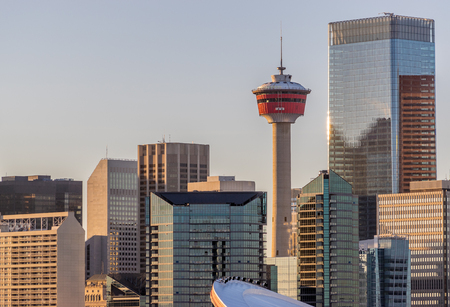 Calgary city skyline in warm evening light Stok Fotoğraf
