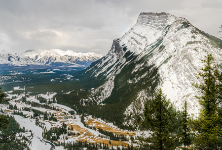 View of Rundle mountain during the winter, Banff, Canada Stok Fotoğraf