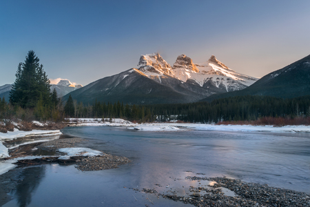 Three Sister mountain during the evening, beautiful canadian rocky mountains, Canmore, Canada