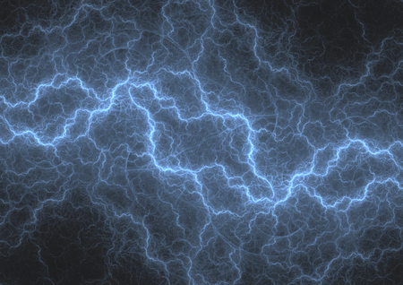 Blue fractal lightning storm, abstract electrical background
