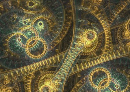 Abstract steampunk background, brass machine Stock Photo