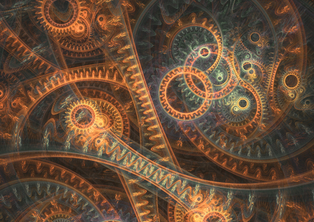 Abstract steampunk background, brass machine 스톡 콘텐츠 - 100369122