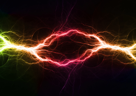 Colorful plasma, abstract electrical lightning Stok Fotoğraf