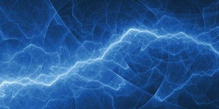 Blue abstract fractal lightning, plasma background Standard-Bild
