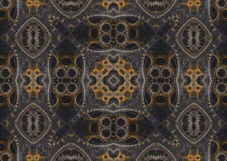 Abstract mechanical background, steampunk fractal tile