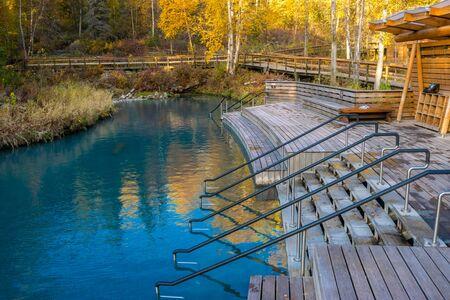 Liar rive hot springs in warm autumn evening, British Columbia, Canada Standard-Bild