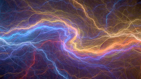 Fire and ice plasma, abstract lightning background Archivio Fotografico