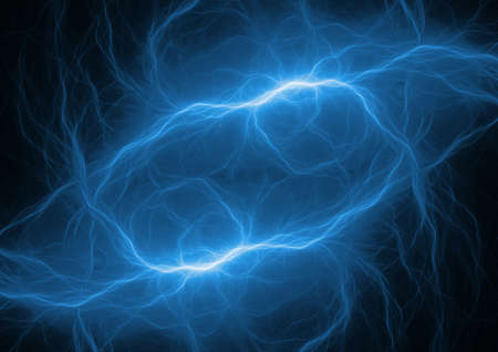 Blue plasma, abstract electrical lightning