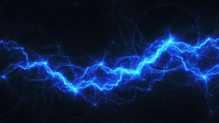 Blue lightning, abstract electrical background Zdjęcie Seryjne