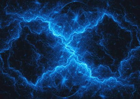 Blue lightning plasma background, abstract electrical illustration