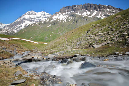2 summits :Grande Casse and Pierre Brune from the torrent Fontabert, Vanoise National Park, Northern Alps, Savoie