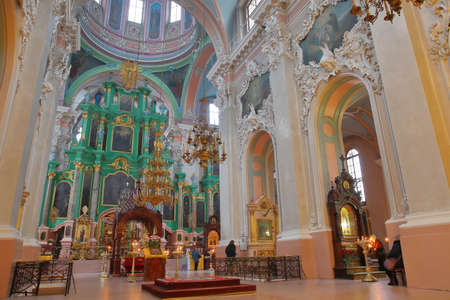 VILNIUS, LITHUANIA - DECEMBER 30, 2016: Interior of the Orthodox Church of the Holy Spirit Editorial
