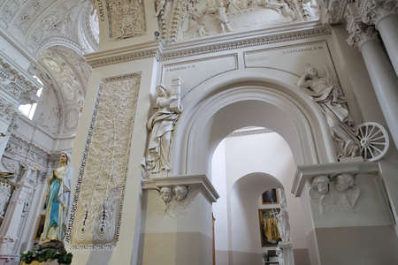 st pauls: VILNIUS, LITHUANIA - DECEMBER 31, 2016: The interior of St Peter and St Pauls Church with over 2000 stucco mouldings representing miscellaneous religious and mythological scenes