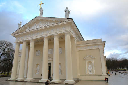 pediment: VILNIUS, LITHUANIA - JANUARY 2, 2017: The external facade of the Cathedral on Cathedral Square with details of sculptures on the pediment Editorial