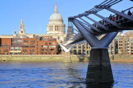 LONDON, UK - DECEMBER 31, 2015: View of St Pauls Cathedral and the Millennium Bridge