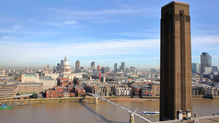 st pauls: LONDON, UK - OCTOBER 03, 2016: General view of London (with St Pauls Cathedral and the Millennium Bridge) from the roof terrace of Tate modern new building Editorial