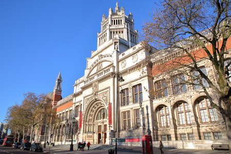 LONDON, UK - NOVEMBER 28, 2016: The external facade of Victoria and Albert Museum in South Kensington Editorial