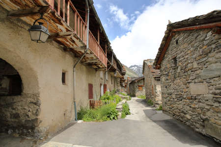 BONNEVAL-SUR-ARC, FRANCE: a narrow street inside the village in Vanoise National Park, Northern Alps