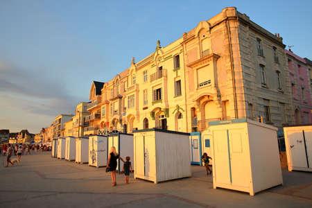 WIMEREUX, FRANCE - AUGUST 26, 2016: Beach huts at sunset in Cote dOpale, Pas-de-Calais Editorial