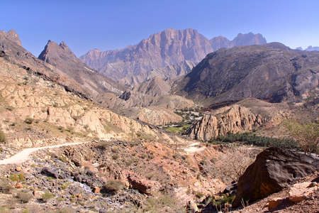 OMAN: General view of the mountains of Wadi Bani Awf  in Western Hajar Stock Photo