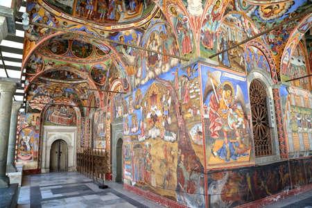RILA, BULGARIA - JULY 23, 2015: Frescoes at Rila monastery