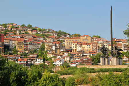 VELIKO TARNOVO, BULGARIA: General view of the Old town with Asen monument on the right