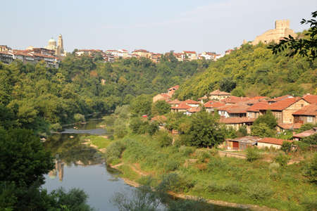 yantra: VELIKO TARNOVO, BULGARIA: The town and the Yantra river Stock Photo