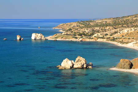 PETRA TOU ROMIOU, CYPRUS: General view of  Aphrodites rock and beach near Pafos