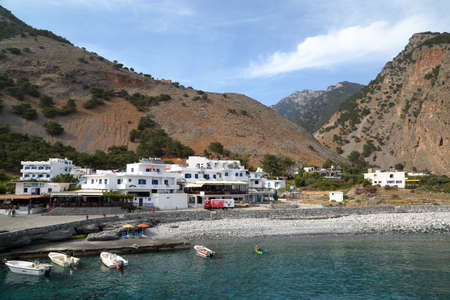 AGIA ROUMELI, CRETE - MAY 24, 2014: The entrance or exit point to the Samaria Gorge hike Editorial