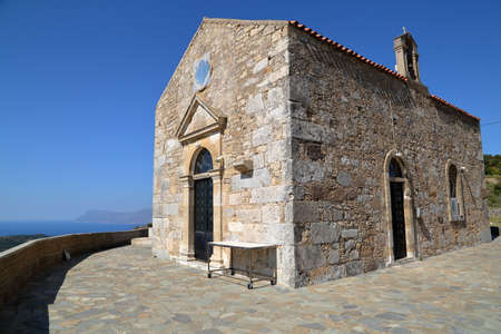 POLYRINIA, CRETE: The church of the ancient Hellenic city of Polyrinia near Kastelli-Kissamos in the western part of Crete