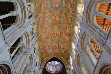 ELY, UK - MAY 26, 2017: The interior of the Cathedral with the painted ceiling of the nave