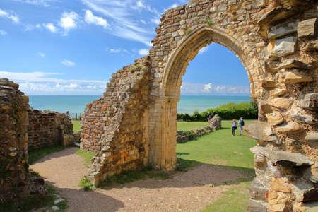 HASTINGS, UK - JULY 23, 2017: The ruins of Hastings Castle in East Sussex Editorial