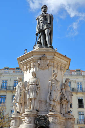 LISBON, PORTUGAL - NOVEMBER 4, 2017: Close-up on Luis de Camoes poet statue at Camoes Square in Bairro Alto neighborhood