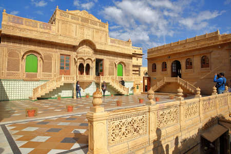 JAISALMER, RAJASTHAN, INDIA - DECEMBER 20, 2017: Jawahir Vilas inside Mandir Palace with patterned pavement and ornate facade