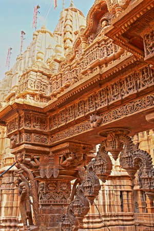 JAISALMER, RAJASTHAN, INDIA - DECEMBER 21, 2017: Detail of the carvings at Shantinath Temple, a Jain Temple located inside the Jaisalmer Fort Editorial