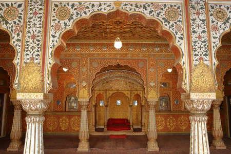 BIKANER, RAJASTHAN, INDIA - DECEMBER 23, 2017: Interior of Gaj Mandir at Junagarh fort