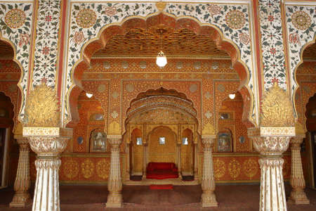 BIKANER, RAJASTHAN, INDIA - DECEMBER 23, 2017: Interior of Gaj Mandir at Junagarh fort