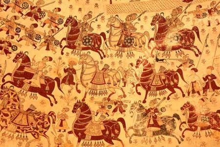 PARASARAMPURA, RAJASTHAN, INDIA - DECEMBER 27, 2017: Ancient frescoes at Sardul Singh Cenotaph Sajtókép