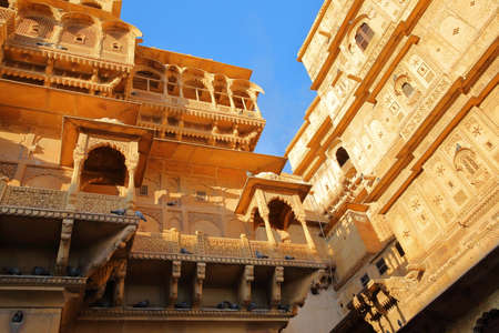 The architectural details of Jaisalmer fort palace in Jaisalmer, Rajasthan, India