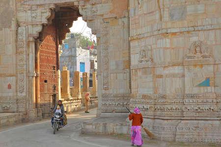 CHITTORGARH, RAJASTHAN, INDIA - DECEMBER 14, 2017: Ram Pol Gate leading to  the fort (Garh) of Chittorgarh